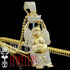 Men Diamond Laughing Buddha Mini Pendant 10K Yellow Gold Finish Round Pave Charm