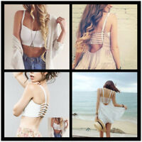 Hot Lady's Bralette Caged Back Cut Out Strappy Padded Bra Bralet Vest Crop Top/G