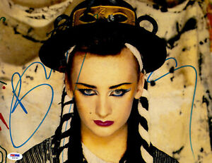 """Boy George Autographed 11"""" x 14"""" Blue Eyeliner and Red Lipstick Photo PSA DNA"""
