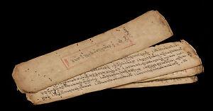 Manuscript Tibetan Antique -antique Mantra Buddhist 9 pages-Tibet-8002