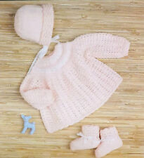 Baby Angel Top/Dress Bonnet And Bootee Knitting Pattern 4 Ply Wool S3293
