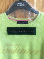 M&S PURE CASHMERE LIME CREW NECK JUMPER 16