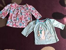 2 x Baby Girl's MINI CLUB Newborn Long Sleeve Tops Floral Rabbit I Love Mummy