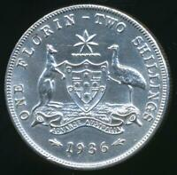 Australia, 1936 Florin, 2/-, George V (Silver) - almost Uncirculated