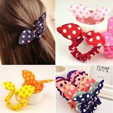 Fashion Bunny Ear Dot Scrunchie Hair Ring Band Elastic Bun Ponytail Holder 10Pcs