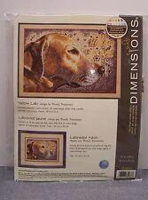 "Dimensions "" YELLOW LAB ""  Counted Cross Stitch Kit 14"" x 10"" Labrador Dog"