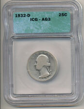 1932-D Quarter ICG AG3 Key Date