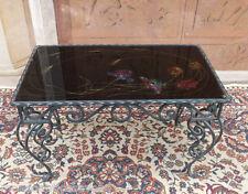 TAVOLINO artistico d'autore in ferro battuto piano in cristallo dipinto, firmato