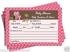 50 Pink Girl Damask OWL Baby Shower Advice Prediction Cards Favors Game Damask