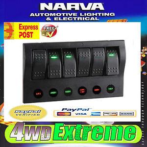NARVA LED LIGHT CUSTOM ROCKER SWITCH PANEL BOAT DASH MOUNT MARINE 6 WAY 63194