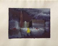 GINO TRAME serigrafia ritoccata a mano Venezia 48x38 firmata numerata 128/150  B