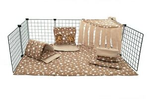 C&C fleece cage liner set, guinea pig, small animals, beige star.
