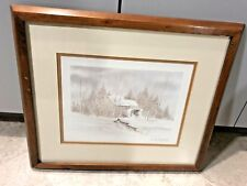 Dorothy Speiser DMB Colorado Winter Snow Lithograph Antiquity Cabin Woods Sign #