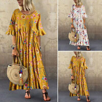 ZANZEA Womens Summer Floral O Neck Dress Ladies Casual Loose Kaftan Maxi Dresses