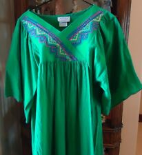 Nos Vtg Bright Green Embroidered 80s Cotton Moo Moo Patio Dress S Lounging Usa