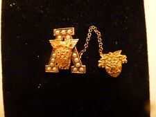 WWII 1950  10k Solid Gold USMA US Military Academy West Point Pin W/Pearls