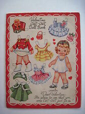 Darling Vintage Paper-Doll Valentine w/ 4 Dolls & Adorable Clothes - Uncut *