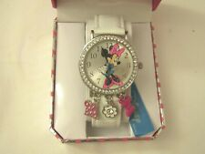 "Disney Minnie Mouse Women""s Watch With Crystals And Charms Min448"
