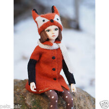 Clothes for dolls 17in, Fox costume Knitted for Minifee MSD, outfit Doll BJD 1/4