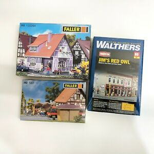 HO Scale Walthers Cornerstone Grocery Store Kit Faller Bus Stop Timber House LOT