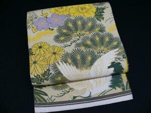 Antique Beige Silk Japanese MARU OBI w/UME, KIKU, Cranes Q135