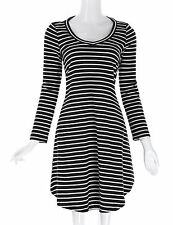 Women's Casual Black/ Navy Striped Long Sleeve Cotton Skater Flared Short Dress