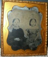 Two young sisters 1/6th size Ambrotype in brass frame