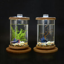 Rotatable Desktop Aquarium Glass Cylinder Fish Tank Home Office Decoration