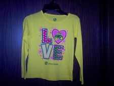 John Deere girls yellow LOVE long sleeved shirt size 6, 100% cotton