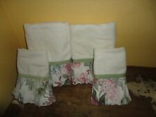 SPRINGMAID ARBOR ROSE PLEATED PINK GREEN FLORAL DECORATIVE (4PC) TOWEL SET