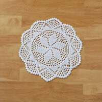 4Pcs White Hand Crochet Lace Doilies Cotton Doily Round Table Mats Wedding 30cm