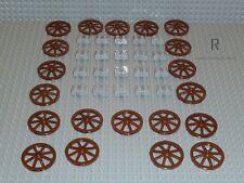 LEGO® Ritter 20 braune Räder Rad mit Achsen für Kutsche Knights Burg NEU R899