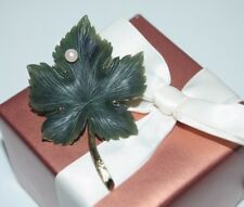 585 Solid 14k Yellow Gold Genuine Large Green Jade Maple Leaf Vintage Brooch