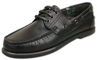 Mens Brand New Black Lace Up Leather Moccasin Boat Shoes Size 6 7 8 9 10 11 12
