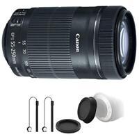 Canon EF-S 55-250mm F4-5.6 IS STM Lens w/ Bundle for Canon EOS 70D , 77D & 80D