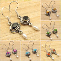 925 Silver Plated BLACK ONYX & Other Gemstone Earrings Indian Jewelry Store NEW