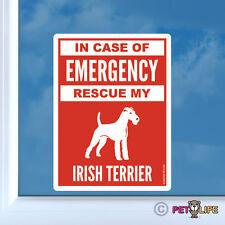 In Case of Emergency Rescue My Irish Terrier Sticker Die Cut Vinyl - #2 dog red