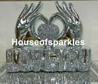 Crushed Diamond Silver Hand Heart Love You Sparkle Ornament Bling Home Decor ✨