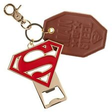Superman Premium Bottle Opener and Leather Key Ring Red