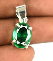 Natural Oval 12.95 Ct 925 Sterling Silver Muzo Emerald Pendant Certified L2014