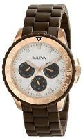Bulova Women's Quartz Multi Dial Calendar Rose Gold Accents 40mm Watch 98N103