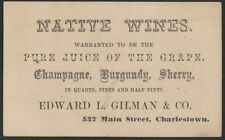 1870s Boston American Native Wines & Champagne & Pickles Maker Business Card