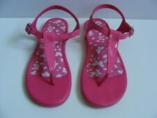 NWT Girls Lands' End T-Strap Pink Sandals Size 2 Jelly Shoes Beach Thongs NEW