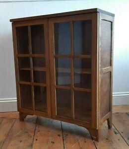 Vintage 1930 s Oak Glazed Bookcase Compact Size Pair Available - VGC / Deliver