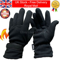 Mens Womens Adjustable Winter Warm Black Thermal Insulated Fleece Gloves Soft