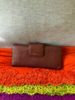 Fossil Wine Pebble Grain Leather Organizer Credit Card Flap Snap Clutch Wallet