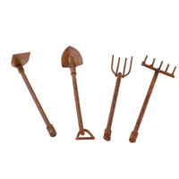 4pcs Dollhouse Miniature 1/12 Gardening Tools Metal Shovels Pitchfork Set