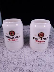 Lot of 2 Paulaner Beer Mug Stein Tankard White Ceramic .5 Liter Munchen Germany