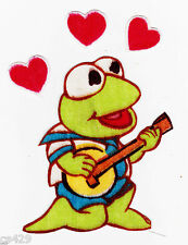"3"" Muppets babies baby kermit frog hearts fabric applique iron on character"