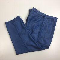 Caslon Women Size XL Blue Chambray Cropped Ankle Pants Loose Fit Short